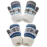 AYPOW Knit Fäustlinge Handschuhe, 2 Paare Niedliches Kleinkind Sherpa Gefüttert Winter Kid Warme Handschuhe für Jungen Mädchen
