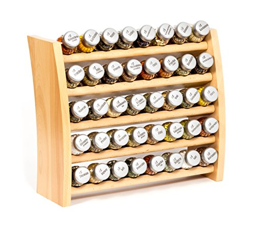Gewürzregal, Küchenregal aus Holz für Gewürze und Kräuter, 40 Gläser, Gald - 40F 8x5 naturell mat -