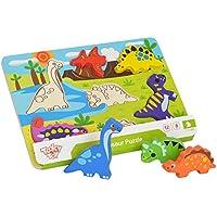 Tooky Toy - Puzzle de dinosaurios con figuras encajables de madera