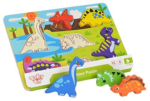 Tooky Toy - Steckpuzzle mit Dinosaurierfiguren aus Holz Dinosaurier Spielzeug Greifen
