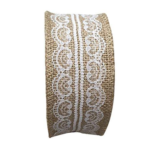 Hessian craft Stoff mit beige Spitze 2''x 11yard für Hochzeit Verpackungsjahrestage (Billige Sackleinen-stoff)