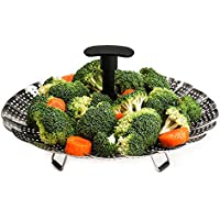"Vegetable Steamer Insert – Stainless Steel Steamer Basket with Extendable Plastic Handle, Foldable Legs with Silicone Feet, Folding Expandable Petals, Fit Various Size Pot (8"" to 12"")"