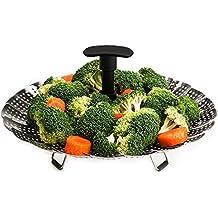Vitamines–licok Cocinar al vapor plegable verduras Sordina con mango extensible, frutero, uso para cacerolas de 18a 28cm Acero Inoxidable