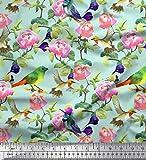Soimoi Vert Poly Georgette en Tissu Feuilles, Fleurs et Colibri Oiseau Tissu Imprime par Metre 42 Pouce Large