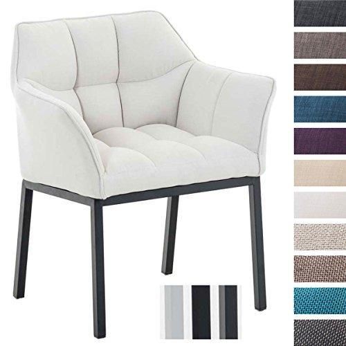 Clp poltroncina lounge octavia | sedia da salotto imbottita in tessuto | sedia soggiorno design con telaio a 4 gambe | alt. seduta 49 cm bianco colore piedistallo: metallo nero opaco