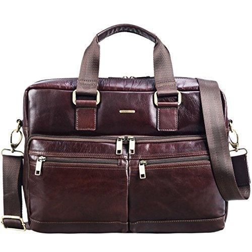 STILORD 'Vito' Vintage Businesstasche Leder Herren Damen 14 Zoll Laptoptasche Umhängetasche Aktentasche Arbeitstasche Rindsleder, Farbe:Polo - braun
