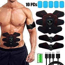 zociko Electroestimulador Muscular Abdominales, EMS Estimulador Muscular Abdominales EMS Estimulador Músculo Tóner, 6 Modos de Simulación & 9 Niveles Diferentes Pantalla LCD ABS Masajeador Eléctrico