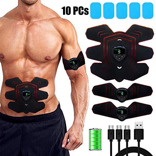 zociko Elettrostimolatore Muscolare, Muscle Stimulator Stimolatore EMS Addominale Trainer USB Ricaricabile, 6 modalità e 9 Intensità con Display LCD Controllo 1* Ab Pad & 2* Braccio/Gambe Pads