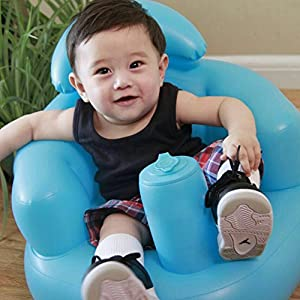 Per Baby Inflatable Seat Booster Learn To Sit Sofa With Backrest&Built-in Air Pump For Toddlers Kids-Blue