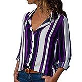 ITISME FRAUEN BLUSE Damen Casual Langarm Farbblock Streifen Button T Shirts Tops Bluse (M, Lila)