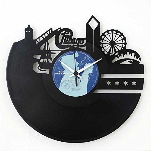 Chicago (amerikanische Stadt) Geschenkidee Vinyl Schallplatten- Uhr Schwarz Vinyl - Stadt Amerikanischen