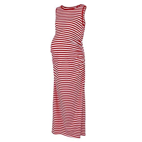 Damen Streifen Ärmellos Umstandskleid Mode Modal Maxi Kleider Umstandsmode Tank Langes Kleid Frauen Freizeit Schwangerschaft Kleidung (S)