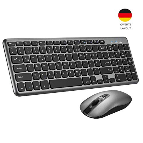 TOPELEK Kabellose Tastatur Maus Set, 2.4GHz Deutsches Tastatur, Funktastatur und Maus, Wasserdicht Tastenkappen mit 3-Ebene DPI Silent Funkmaus, und 2 in 1 Nano USB Empfänger