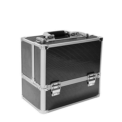 Panana Kosmetikkoffer XL Aluminium Schminkkoffe Multikoffer Werkzeugkoffer, 31x30x21cm - Schwarz