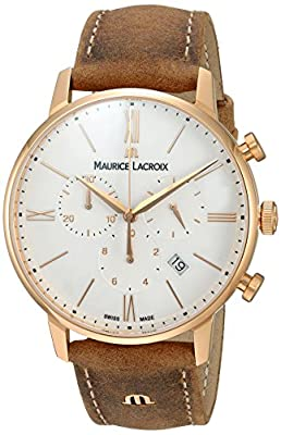 Maurice Lacroix Men's Analog Swiss-Quartz Watch with Leather Calfskin Strap EL1098-PVP01-113-1
