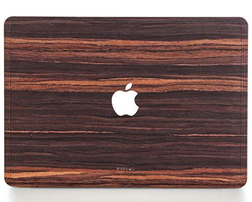 Woodwe MacBook Skin Sticker für Mac Pro 15 Zoll Retina Display, Modell: A1398, Mitte 2012 - Mitte 2015 - Echt & Natur Ebenholz - Top & Bottom Cover