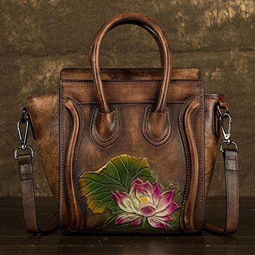 Kamiwwso Damen PU Leder Crossbody Messenger Bags Satchel Geldbörse, Umhängetasche für Frauen (Color : Brown) -
