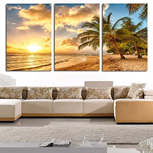 LTTGG Sun golden green kokospalme landschaft moderne 3 panel kunstdruck malerei leinwand wandkunst wohnzimmer schlafzimmer wohnkultur in Leinwanddrucke -
