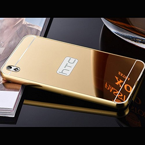 AEMA (TM) Luxury Metal Bumper + Acrylic Mirror Back Cover Case For HTC DESIRE 816 GOLD