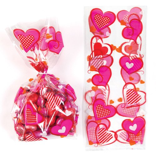 Heart Cellophane Gift Bags with Twist Ties for Children - Perfect Valentines Day Party Bag Stuffer or Gift for Kids (Pack of 20)