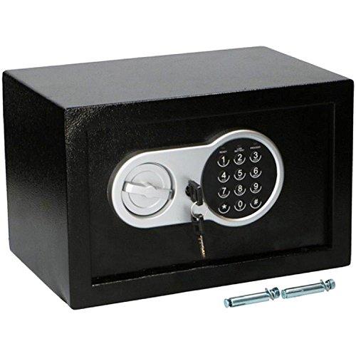Bakaji Cassaforte a Muro Numerica Digitale 30 x 20 x 20 cm Cassetta di Sicurezza Elettronica Casa Albergo Hotel Safe + 4 x AA Batterie e Chiavi di Emergenza Colore Nero