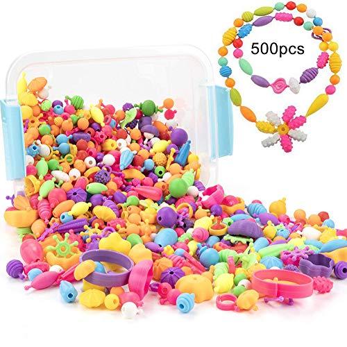 0Miaxudh Snap Perle, 500Pcs Pop Snap Perlen Kit, Wiederverwendbare DIY Halskette Armband Ring Kleinkind Kinder Spielzeug Random Style 500pcs -