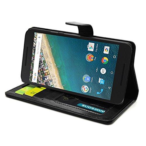 FOSO(TM) LG Google Nexus 5X 2015 High Quality PU Leather Magnetic Flip Cover Case (Executive Black)