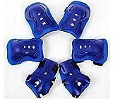 Meta-U Juego de 6 piezas de protecciones de patinaje para niños–2muñequeras + 2coderas + 2rodilleras para 3-7años, color azul, tamaño talla única