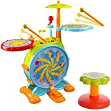 Huile Electric Toy Jazz Drum Set For Kids Musical Instrument Playset With Microphone And Chair