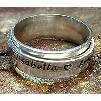 Anelli filatore, con testo personalizzato e anello girevole -