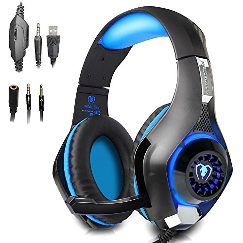 Beexcellent Xbox ein PS4 Kopfhörern Gaming Kopfhörer Headset Kopflautsprecher mit Mikrofon Surround-Sound LED-Licht für Xbox One PS4 PC Laptop (Xbox 360-gaming-brille)