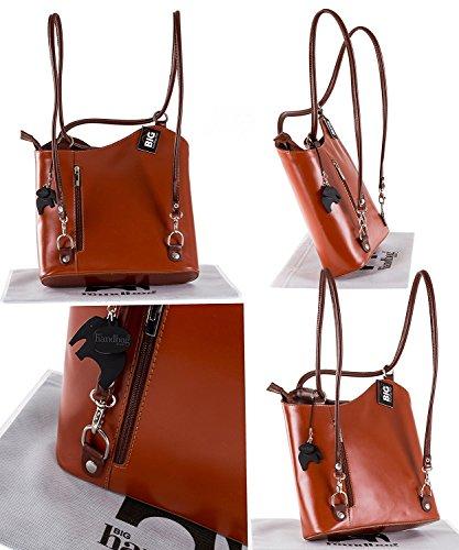 Donne Fatto a mano in pelle italiana borsa a mano, tracolla o zaino. Comprende una borsa di marca deposito protettivo e un fascino 28 x 28 x 8 cm (LxAxP) Medium Tan - Brown Trim