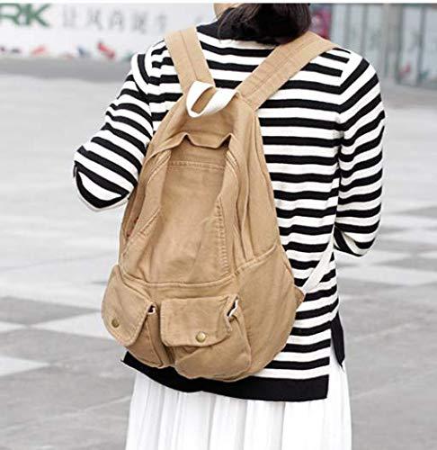 Fsweeth Frische kleine Double Shoulder Bag Female einfache Kunst Harajuku Wind 2-Pocket Jeans travel College Studenten, 31 * 36 * 12 cm, Hellbraun kleine Taschen. -
