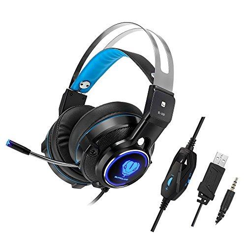 Gaming Headset für PS4, niceEshop (TM) Stereo Over-Ear-Kopfhörer mit Rauschunterdrückung LED-Licht, Mikrofon, Bass Surround, Soft Memory Weiche Ohrenschützer für Xbox One, Nintendo Schalter, Laptop, PC, Mac