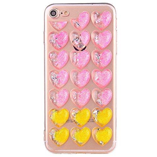 iPhone 6s Schutzhülle, Elegante Pinke Blumen-Serie CLTPY iPhone 6 Durchsichtig Silikon Schale Fall mit Luxus Bunter Liebesmuster für Apple iPhone 6/6s + 1 x Freier Stylus Rosa Gelbes Pulver