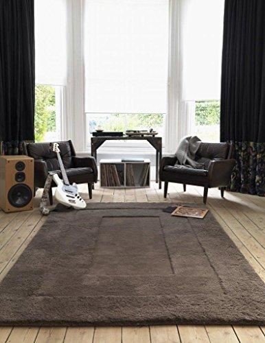Alfombra salon sala de estar Carpet pelo largo Design KARMA UNI SHAGGY RUG 100% Lana 180x180 cm Rectangular Gris | Alfombras barata online comprar