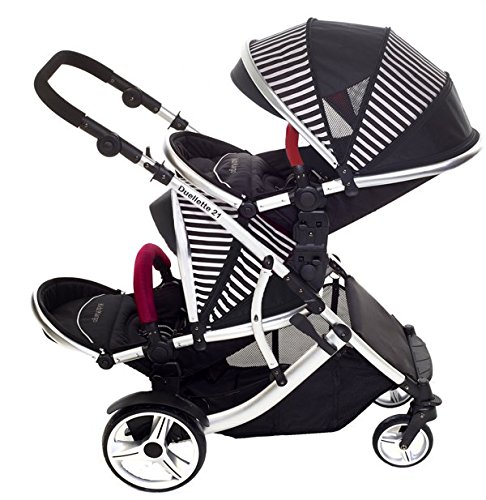 Duellette 21 BS Twin Double Pushchair Stroller Buggy Brand New Colour Range! (Oxford stripe plain bumpers) Kids Kargo Demo video please see link http://youtu.be/Ngj0yD3TMSM Various seat positions. Both seats can face mum (ideal for twins) Suitability Newborn Twins (if used with car seats) or Newborn/toddler. Accommodates 1 or 2 car seats 5