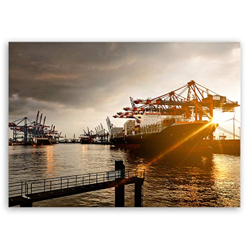 ge Bildet Bilderdepot24 hochwertiges Leinwandbild - Hamburger Hafen - 40 x 30 cm einteilig 1247 (Zertifikat Bildet)