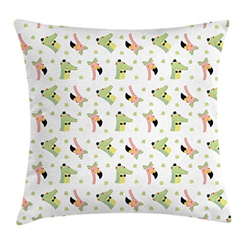 MLNHY Crocodile Throw Pillow Cushion Cover, Crocodile and Flamingo Drawing with Polka Dots Bow Tie Butterflies, Decorative Square Accent Pillow Case, Pistachio Green and Blush,20 X 20 Inches