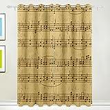 Mydaily note musicali vintage foglio di tenuta termica isolante oscurante finestra tende per soggiorno camera da letto 2pannelli trattamenti Home Decor 139,7x 213,4cm