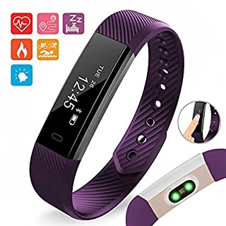 Aquarius Heart Rate Monitor Fitness Tracker Watch Water Proof Step Pedometer Time Distance Calorie Sleep Monitor (Purple)