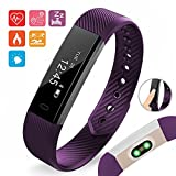 Aquarius Moniteur de fréquence cardiaque, fitness, montre, étanche, podomètre, temps, distance, calorie, suivi du sommeil., violet