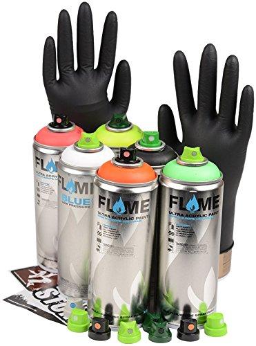 Sprühdosen Set Neon Fluorescent Farben Aerosol Flame inkl. schwarz, weiß & Ersatzsprühköpfe