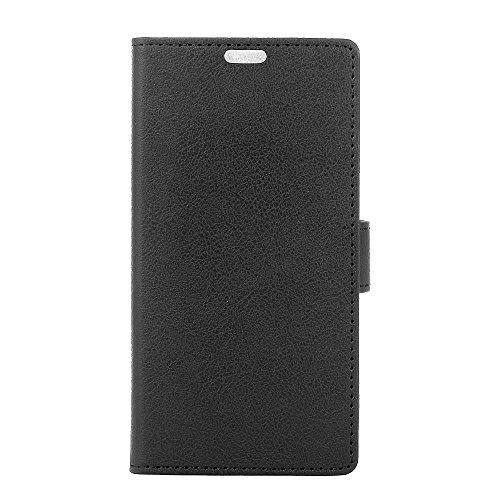 KATUMO® Funda Huawei P8 Lite 2017 Cuero, Funda de Piel Carcasa Rigida para Huawei P8 Lite 2017 Cubierta Caso Funda Cartera Flip Case Cover-Negro