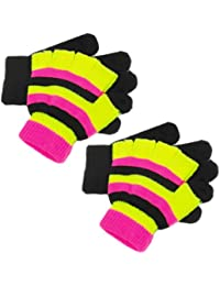 Pack Of 2 x Kids' Double Layer Gloves - Black Full & Striped Fingerless Gloves