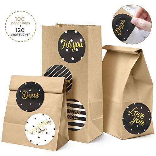 Orlegol sacchetti di carta kraft marrone, 100 piccolo bustine sacchetti kraft mini sacchetti regalo di carta con 120 adesivi utilizzato in feste, matrimoni, mercati, negozi, caffè (18 * 9 * 5.5cm)