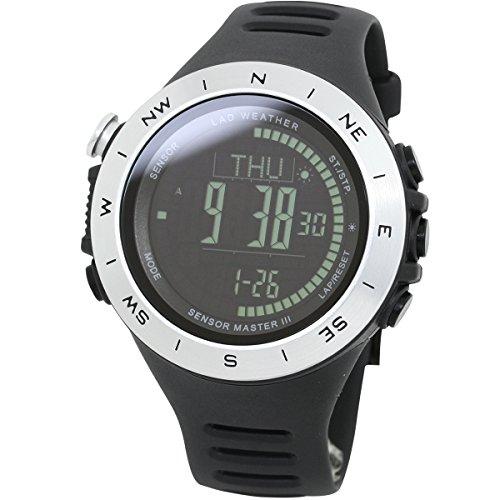 LAD-WEATHERSchweizer-Sensor-Hhenmesser-Digitaler-Kompass-Wettervorhersage-Entfernung-Geschwindigkeit-Schritt-bungszeit-Kalorienverbrauch-100-Meter-wasserdicht-Sturmwarnung-Weltzeit-Herren-uhr