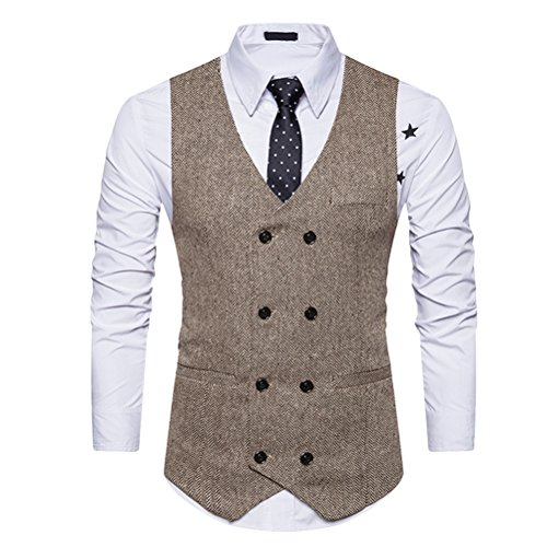 Zhhlaixing Mens Jugendliche V-neck Double Breasted Sleeveless Formal Suit Blazer Waistcoat Weste Outwear Thanksgiving Christmas Gifts (Blazer Double-breasted)