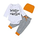 Baby Outfits, FEITONG Baby Boy Briefe Hello World Tops + Cartoon Hosen + Hut Outfits (3M, Orange)