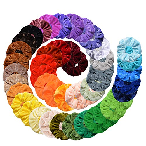 Velvet Hair Scrunchies, 45Pcs Bu...